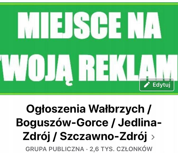 """Grupa na Facebooku """"Ogłoszenia Wałbrzych..."""""""