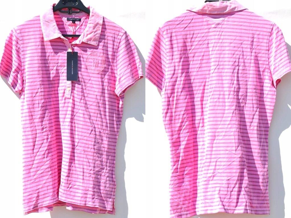 Tommy Hilfiger - Różowa Koszulka Polo XL