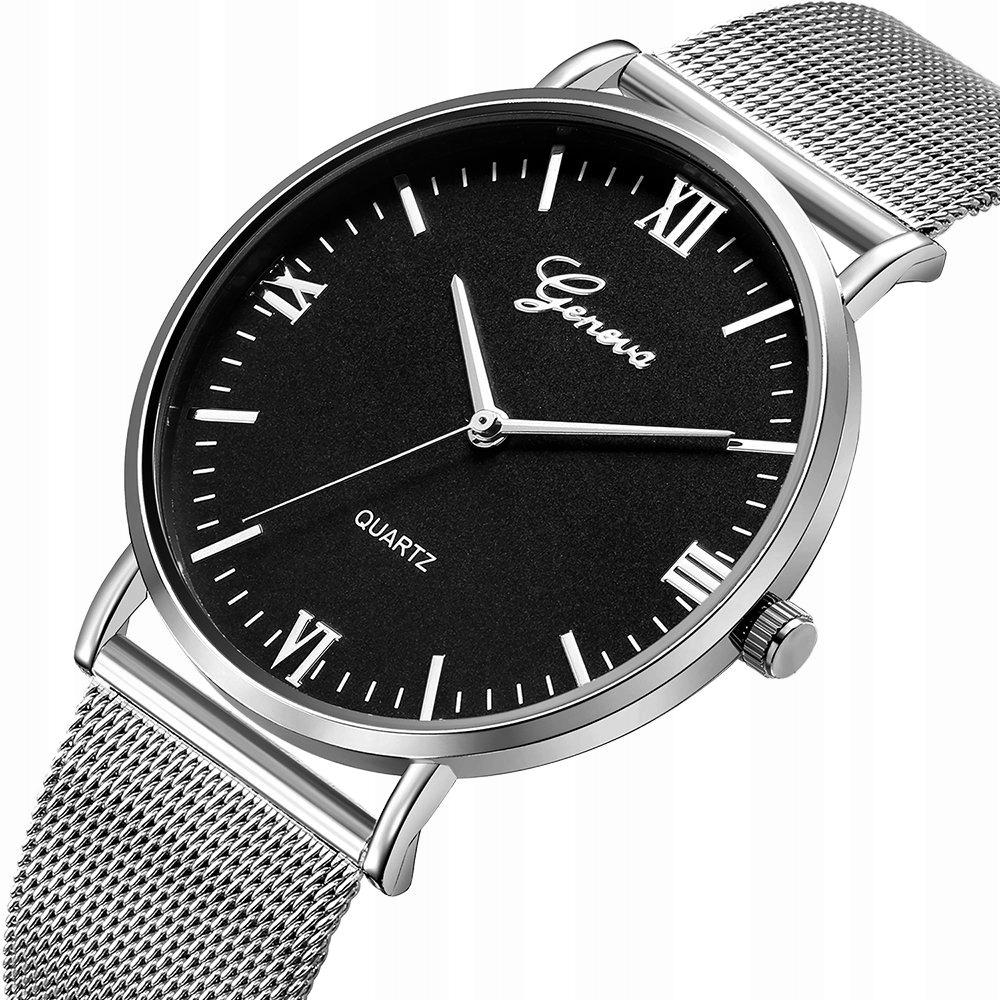 Zegarek GENEVA bransoleta MESH srebrny czarny