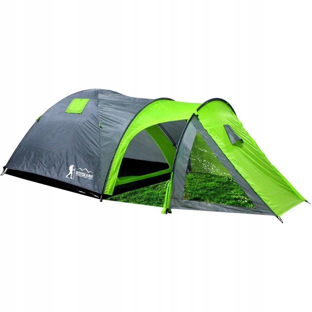 Namiot turystyczny 4 osobowy szaro-zielony SOLIDNY