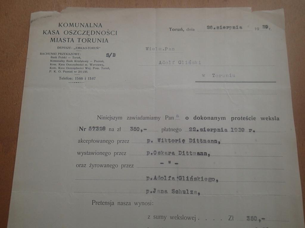 Zawiadomienie o proteście weksla Toruń 1939 r