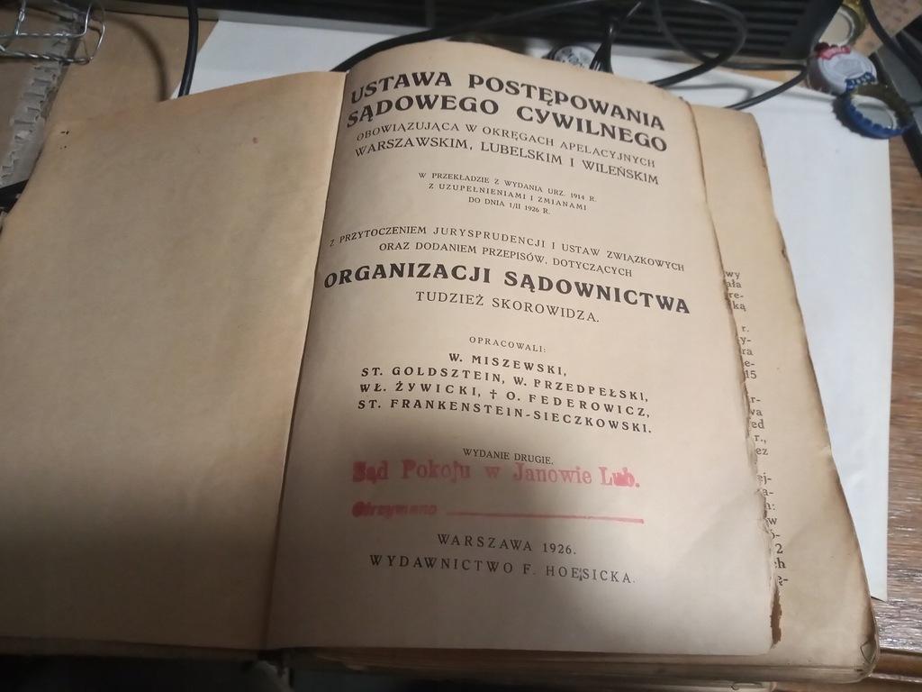 Prawo Ustawa Postępowania Sądowego Cywiln. 1926