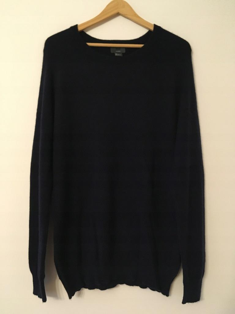 Sweter H&M puch 100% kaszmir L głęboki granat