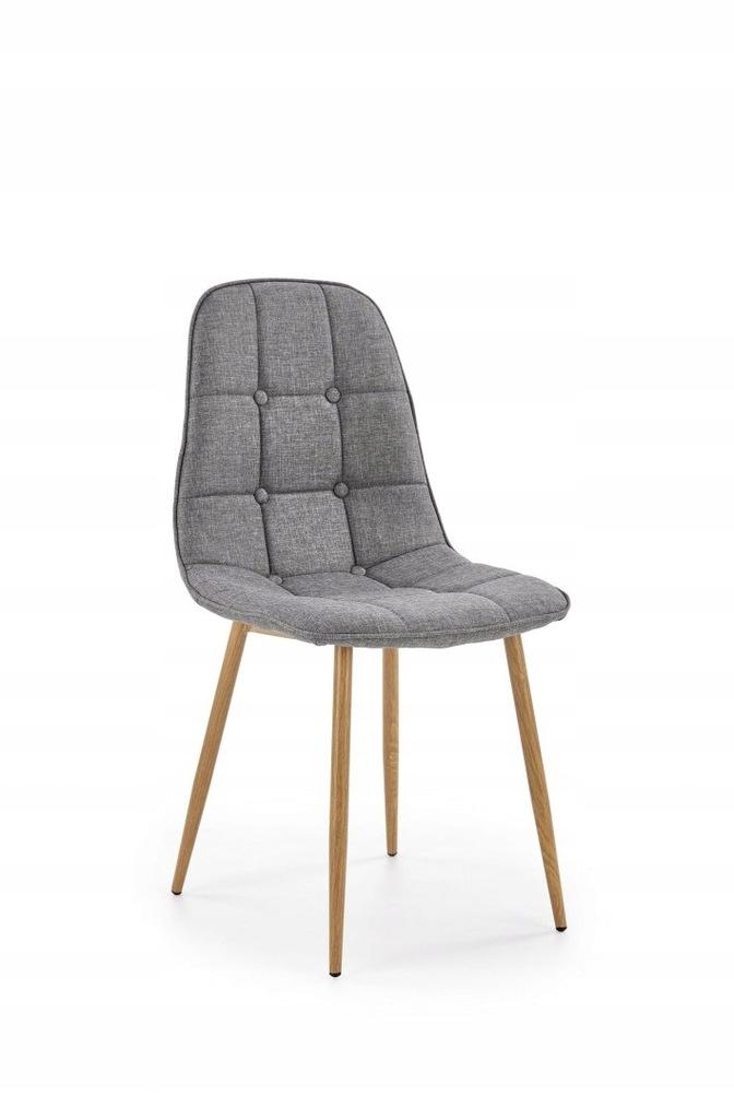 K316 krzesło tapicerka - popielata, nogi - dąb mio