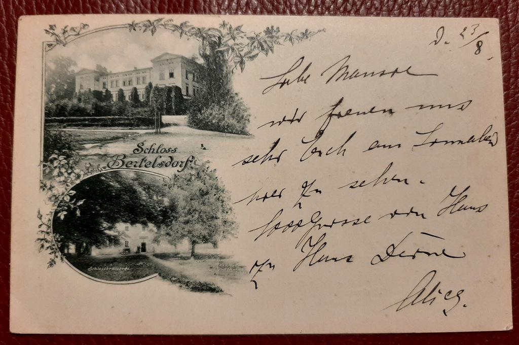 Pocztówka Schloss Bertelsdorf - Uniegoszcz 1900 r