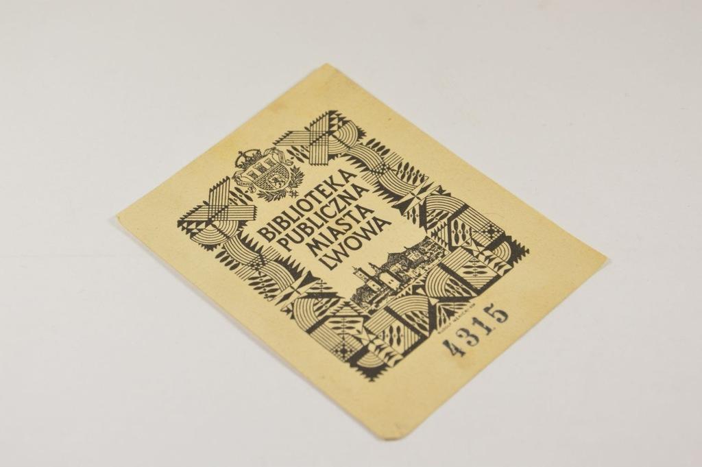 EXLIBRIS BIBL. PUBL. MIASTA LWOWA MĘKICKI 1938 r.