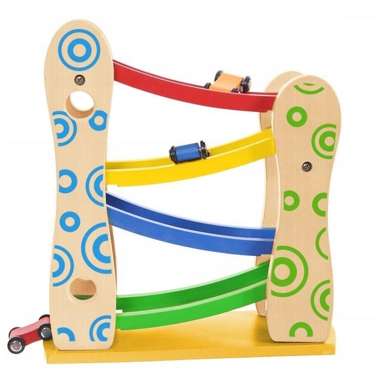 Drewniany tor zjeżdżalnia 3 autka zabawki Ecotoys