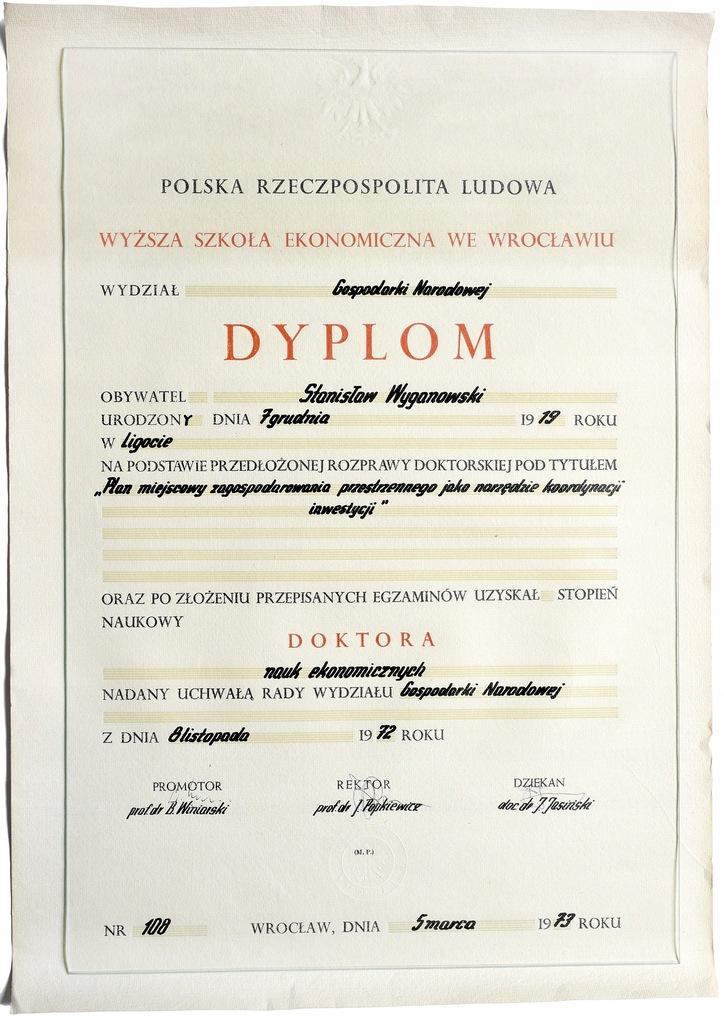 Dyplom doktorski prezydenta S. Wyganowskiego