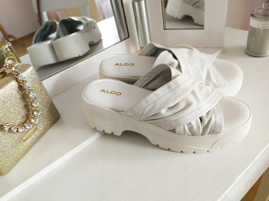 Aldo klapki skóra naturalna białe platforma Nowe39
