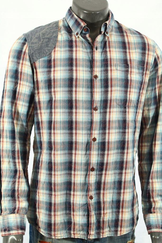 RIVER ISLAND Koszula z łatami do jeansów! L