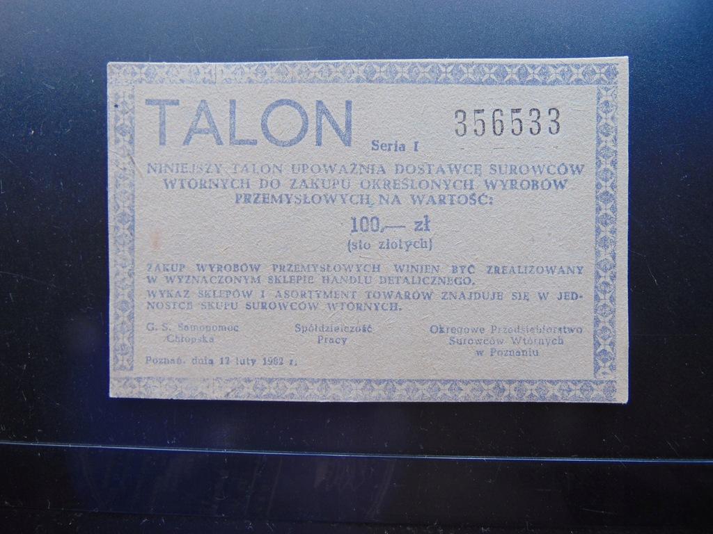 Talon na surowce wtórne 1982 r PRL Stan wojenny