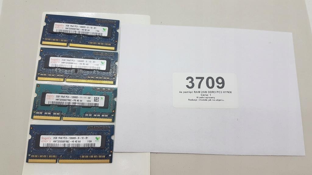4x pamięć RAM 2GB DDR3 PC3 HYNIX (3709)