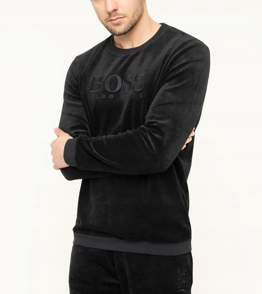 Bluza męska Hugo Boss welurowa XL czarna K3541