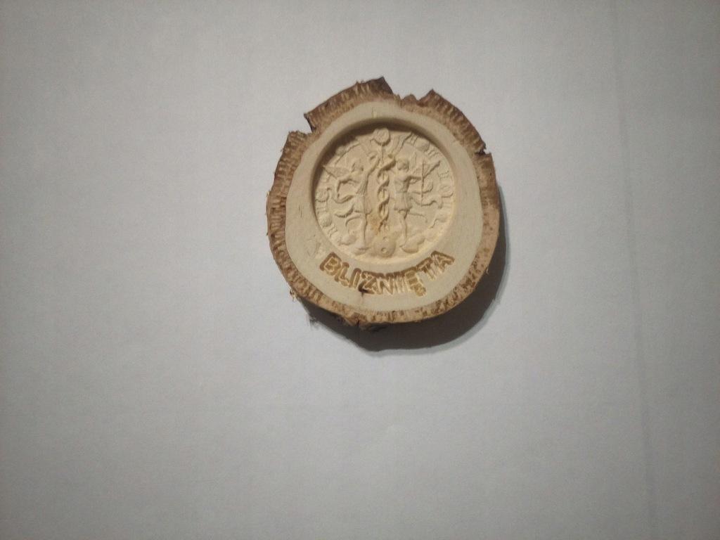 Znak Zodiaku Bliźnięta Płaskorzeźba Drewno Natural