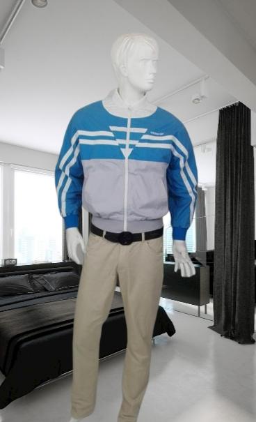 ADIDAS niebiesko szara bluza kurtka logowana