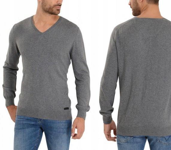PEPE JEANS Popielaty sweter dekolt serek (S)
