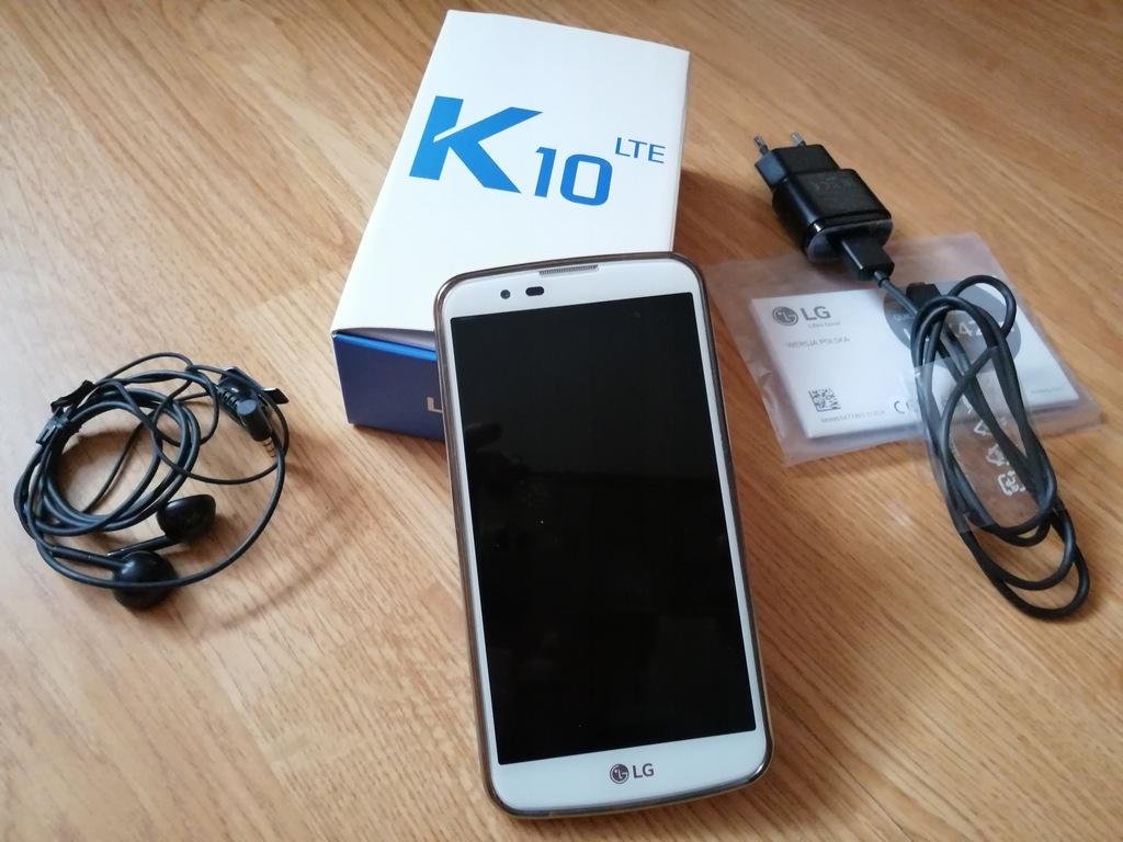 LG k10 LTE biały stan idealny + ładow i słuchawki