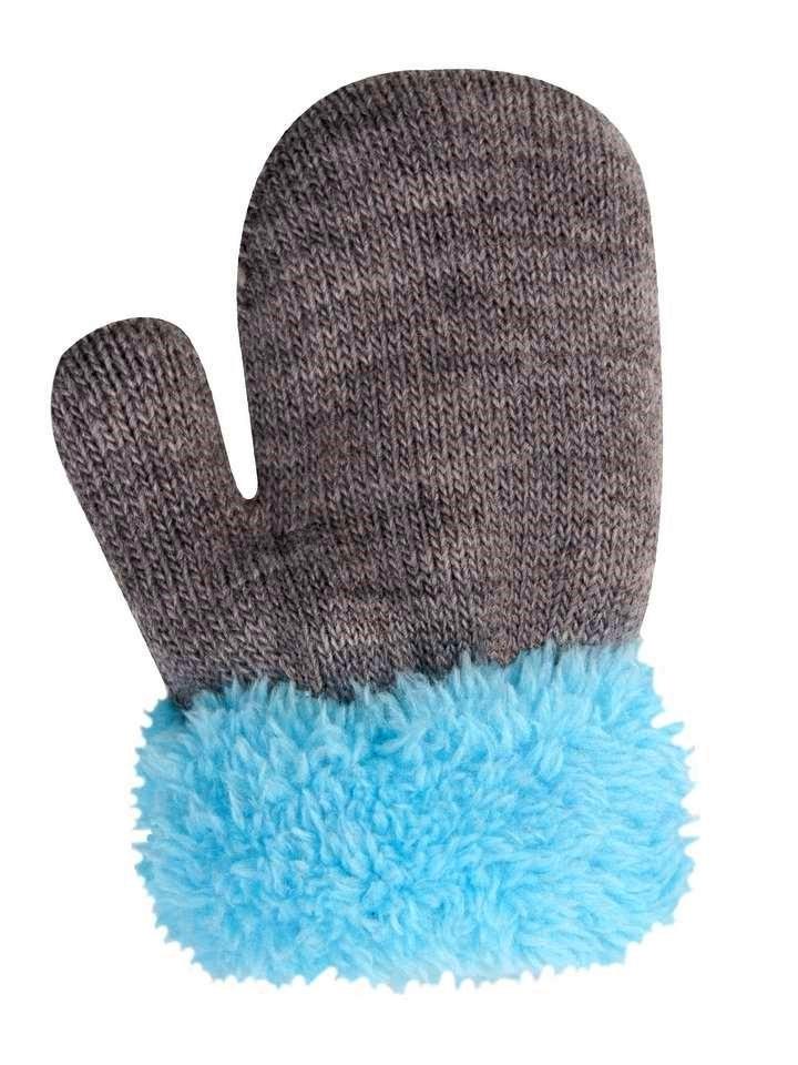 YO! rękawiczki dziecięce CIEPŁE 74-86 futerko 12cm