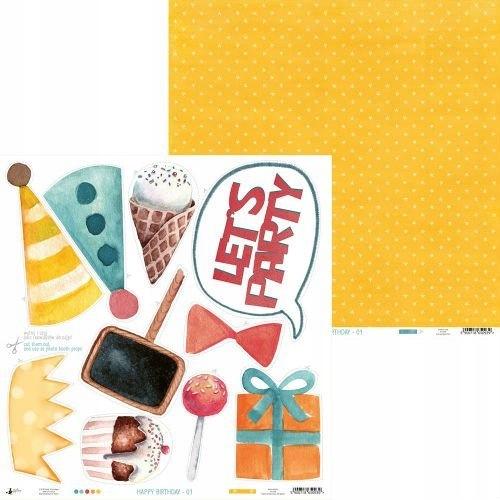 Papier Happy Birthday 30x30 Piątek Trzynastego 01