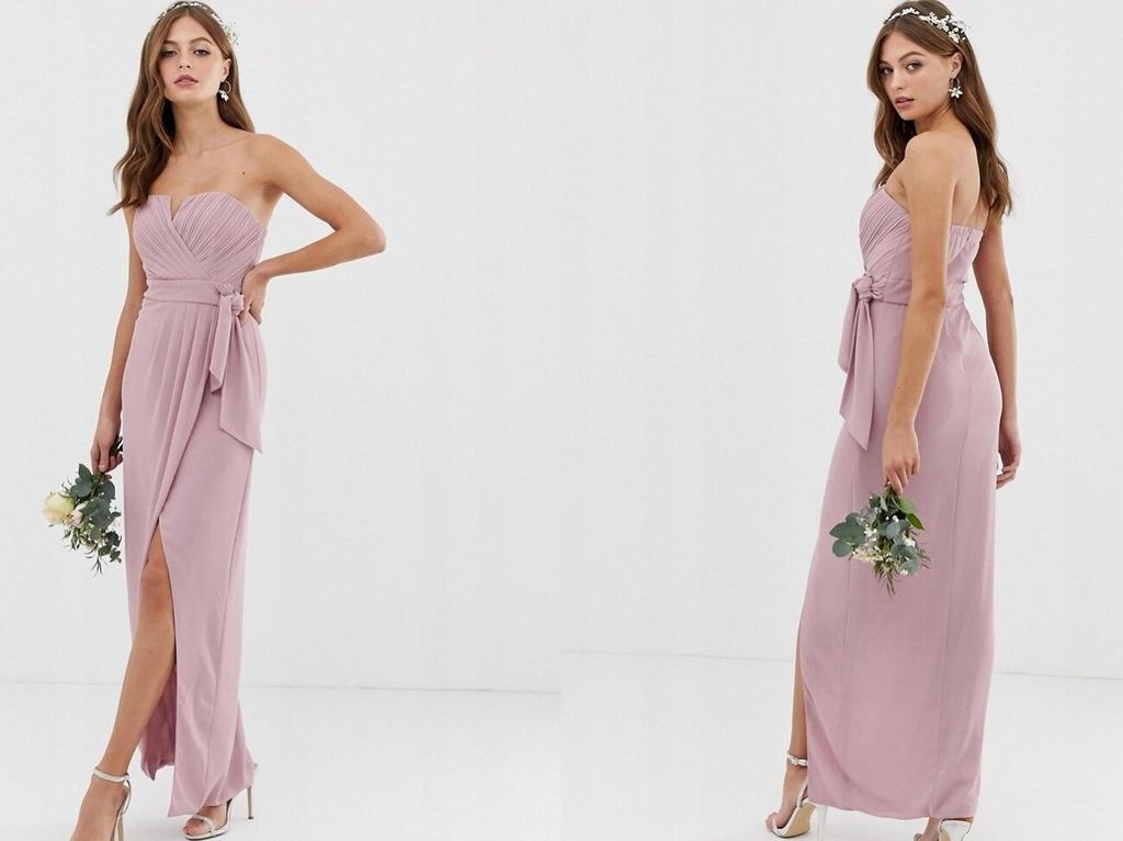 TFNC - ekskluzywna długa sukienka - różowa 36/S