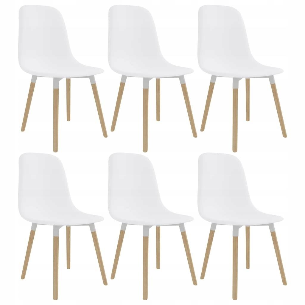 Krzesła jadalniane, 6 szt., białe, plastikowe