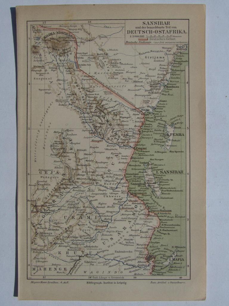 AFRYKA WSCHODNIA ZANZIBAR mapa 1889 r.