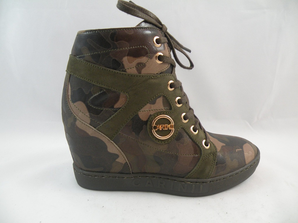 Sneakersy Carinii na koturnie buty damskie moro 37