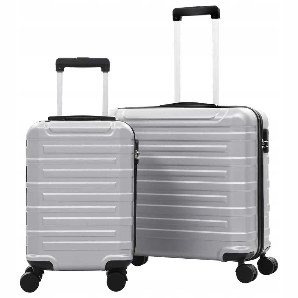 Zestaw twardych walizek, 2 szt., srebrne, ABS