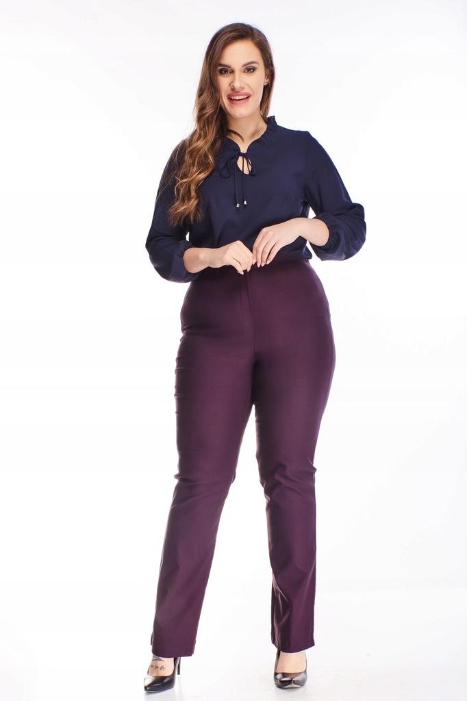 Bawełniane spodnie z wysokim stanem - Fioletowy 56