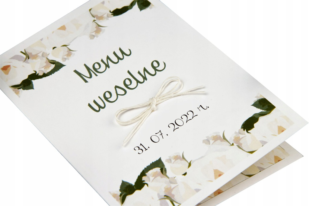 kwiatowe menu ślubne WHITE w formie książeczki