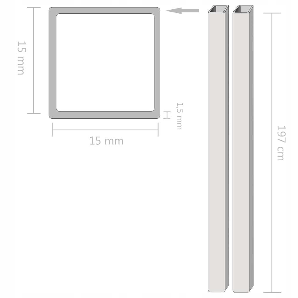 Rury ze stali, 2 szt., kwadratowe, V2A, 2 m, 15x15