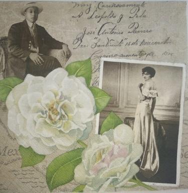 Serwetka decoupage vintage para róża list 1szt