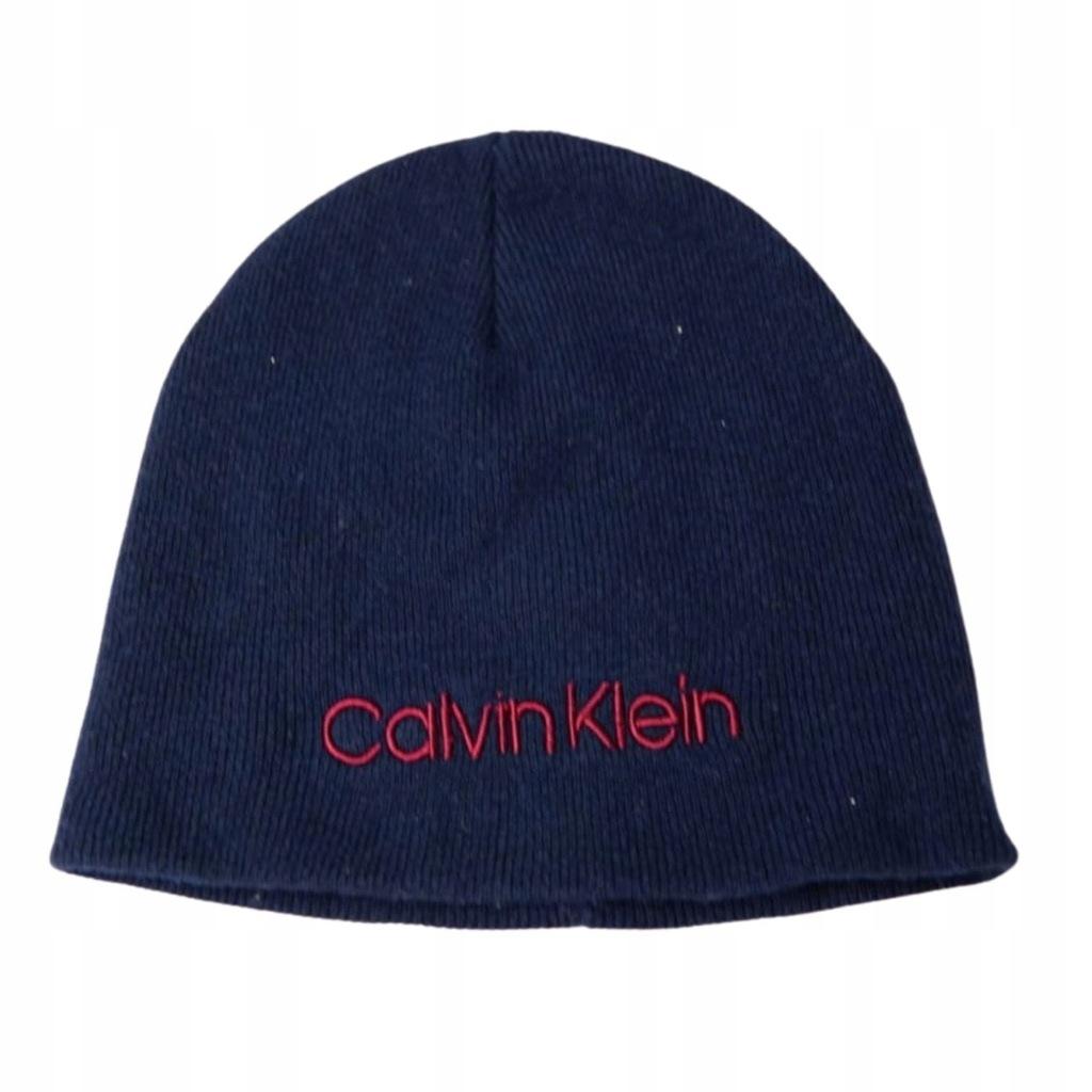 CALVIN KLEIN granatowa czapka zimowa