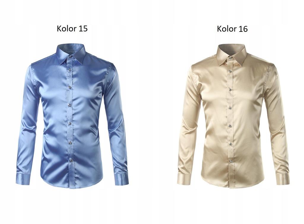 Koszula męska slim fit gładka satynowa kolory S 36  d8Qx3