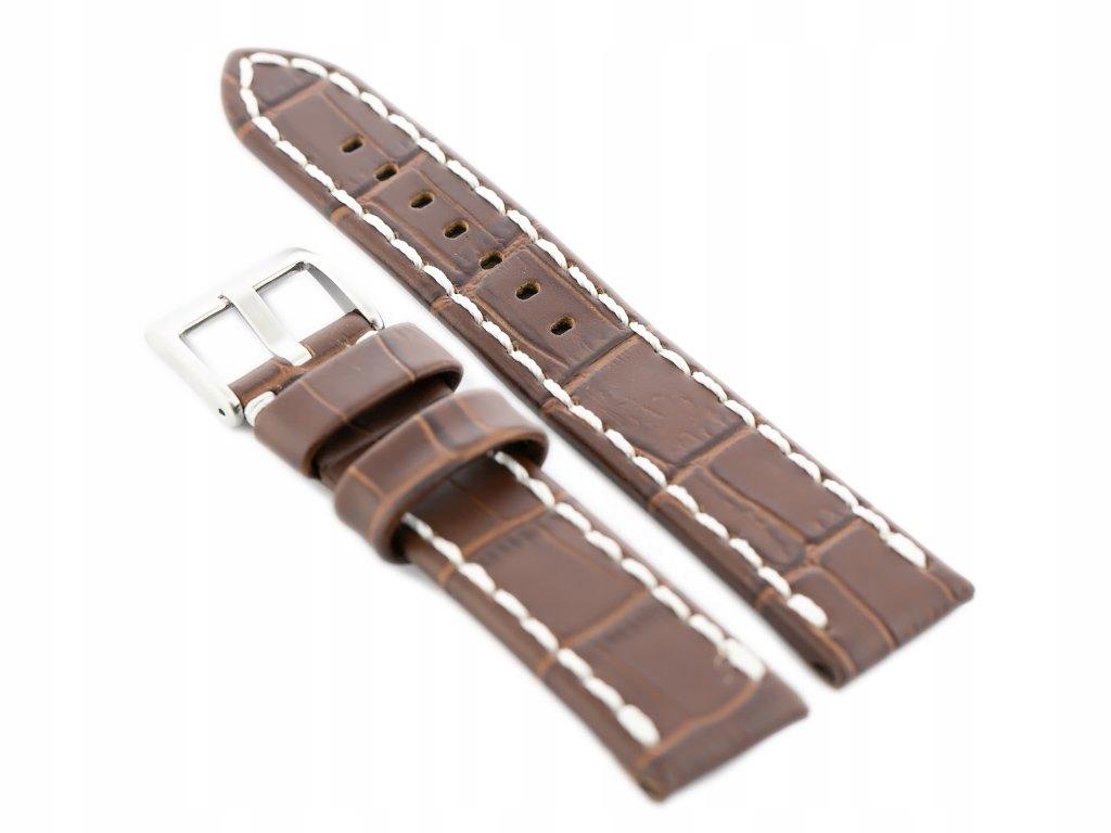 Pasek skórzany do zegarka W49 - ciemny brąz/białe
