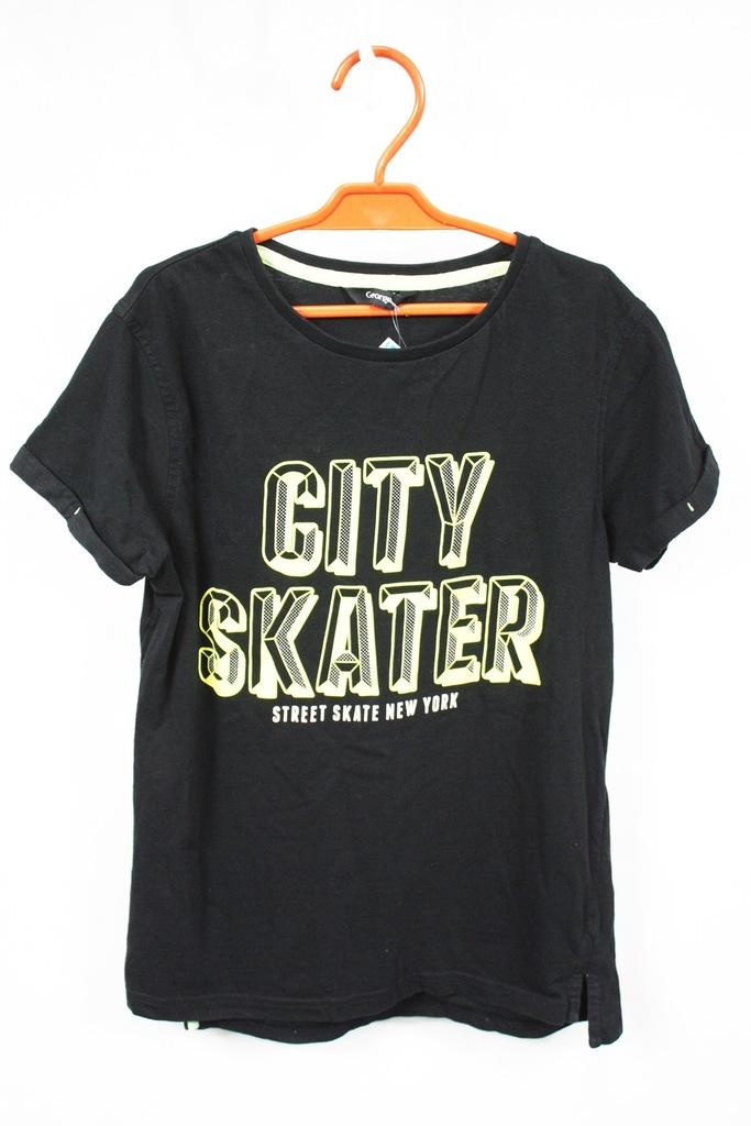 T-shirt dziecięcy czarny GEORGE r.140-146