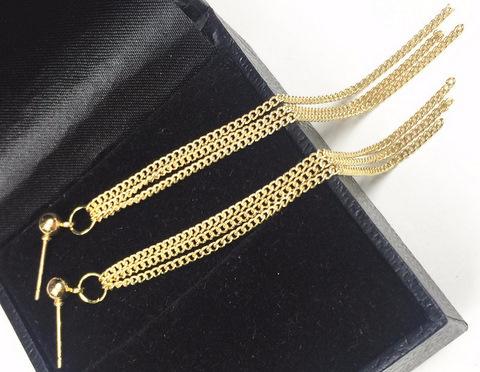 Kolczyki z potrójnymi łańcuszkami złote
