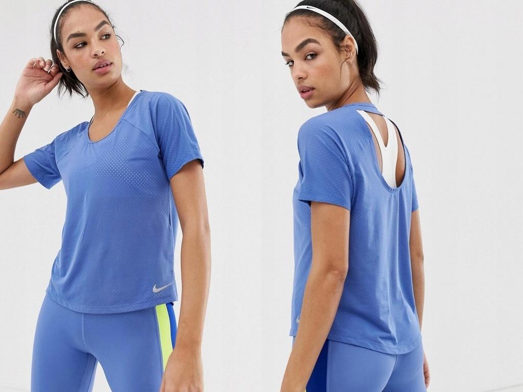 Nike Running Niebieska koszulka z wycięciami XL