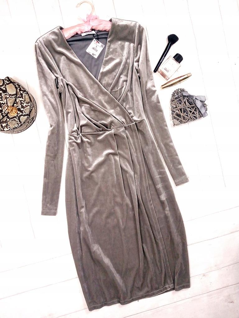 RESERVED siwa welurowa sukienka kopertowa L XL