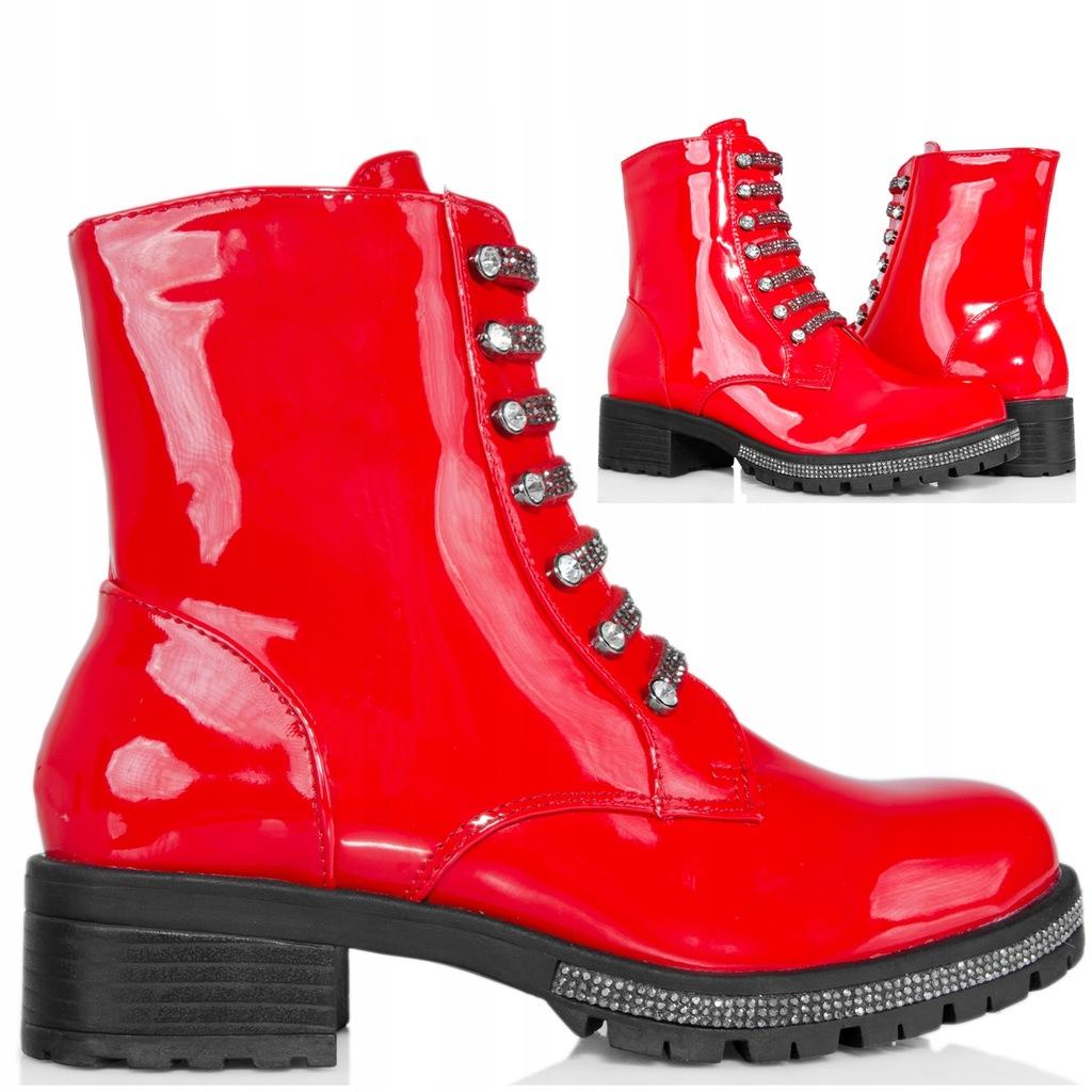 LAKIEROWANE BOTKI Czerwone Workery w Cyrkonie 38