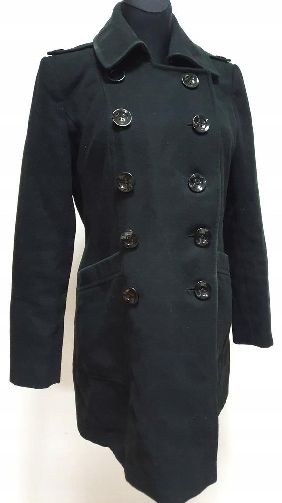 Czarny płaszcz M&S 12 40 L glamour zimowy