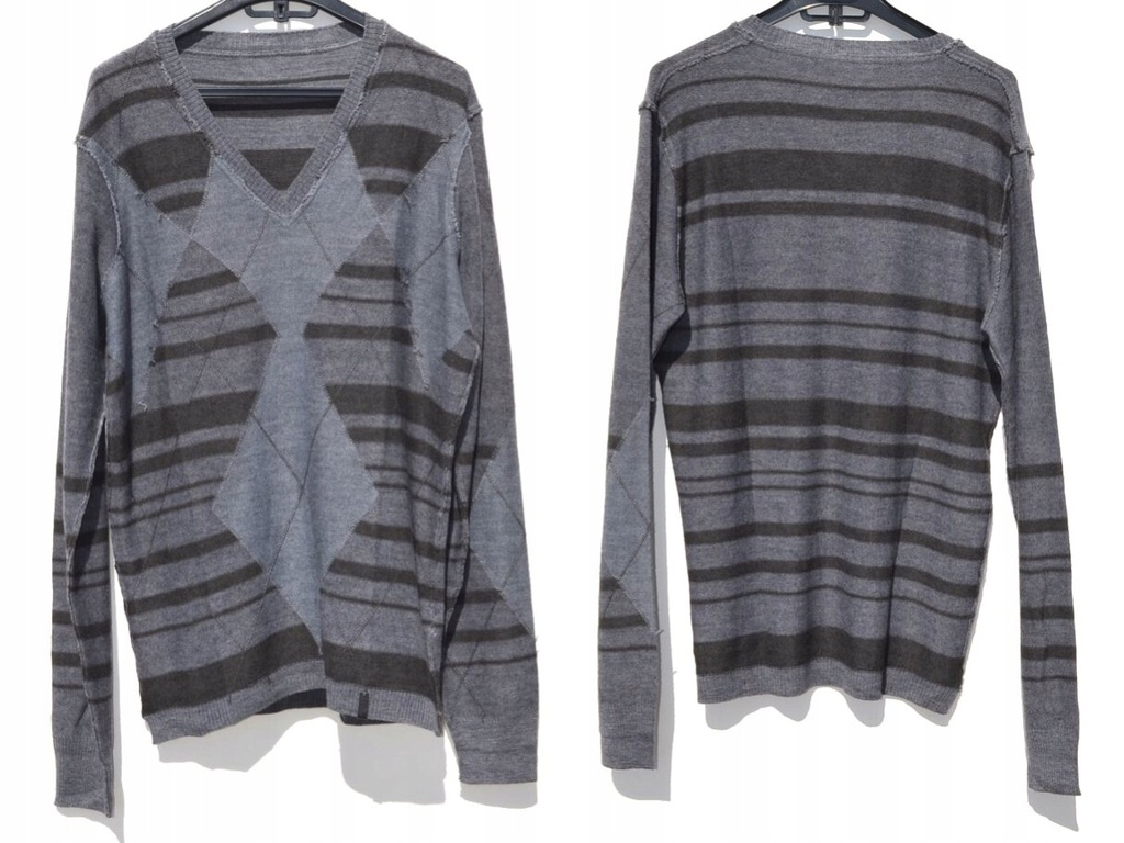 Diesel - Szary Sweter we Wzory XL