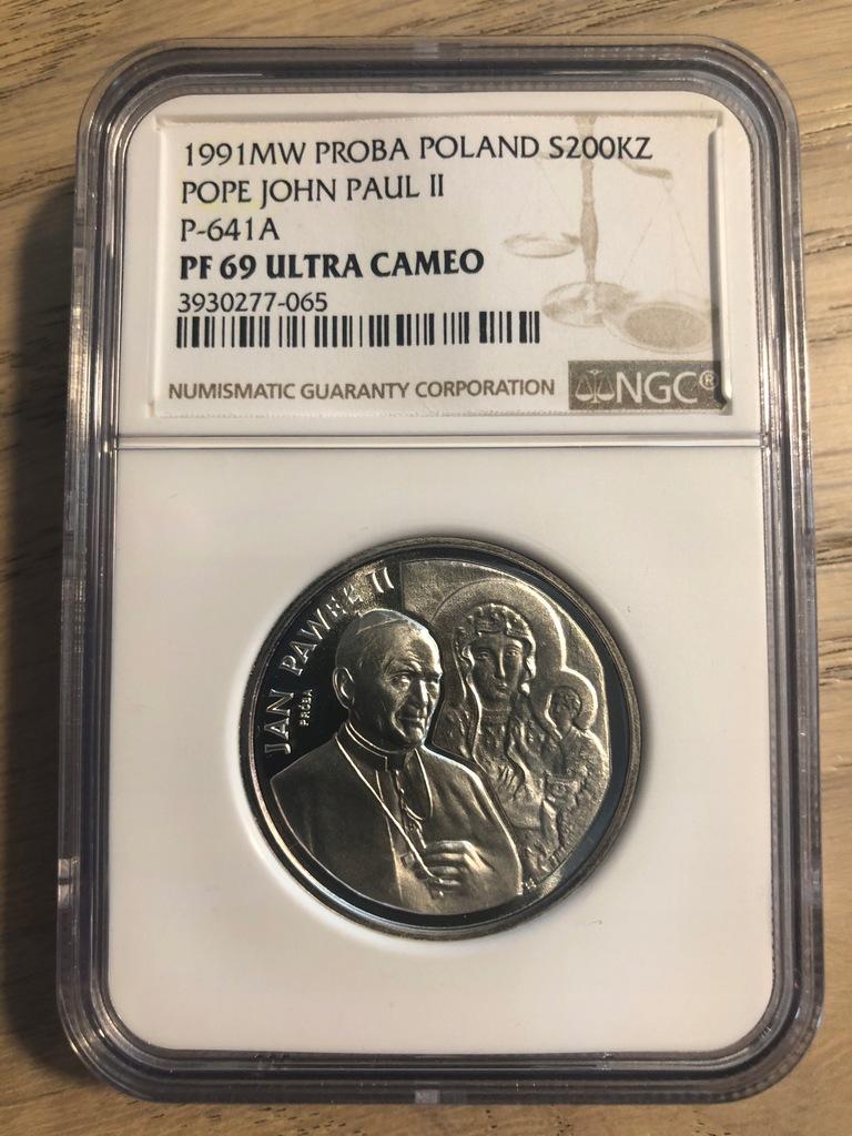 200 000 złotych Jan Paweł II PRÓBA - 1991 PF69 NGC