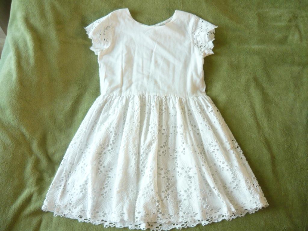 MANGO sukienka bawełna koronka biała rozm.152