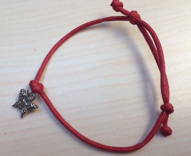 Czerwona BRANSOLETKA sznurkowa MOTYL MOTYLEK