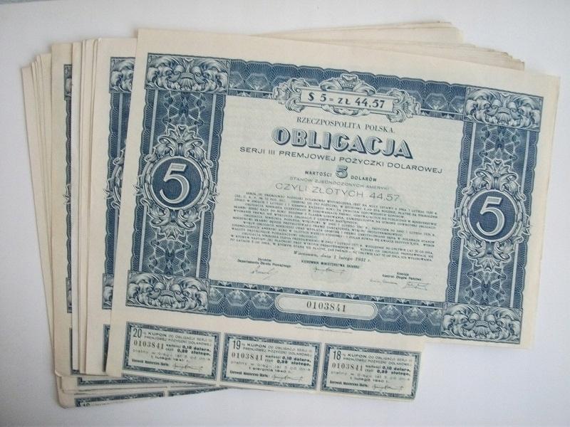 OBLIGACJE 5 $ 1931 R. - 14 SZTUK - OKAZJA !