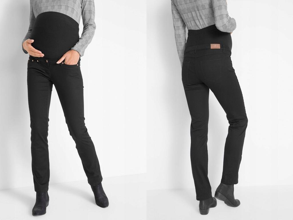 Czarne jeansy z pasem ciążowym M/38