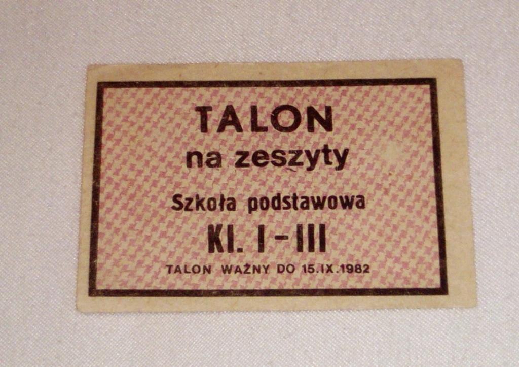 KARTKA ZAOPATRZENIOWA Z PRL NA ZESZYTY kl. I-III