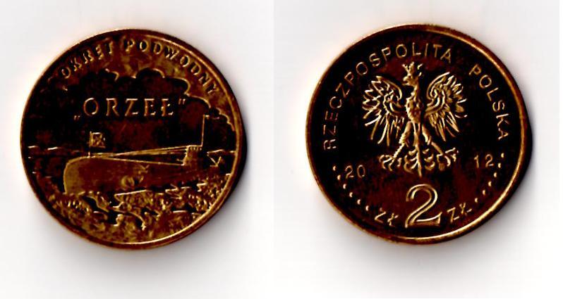 "Moneta 2zł ""Okręt podwodny ORZEŁ"" 2012r"