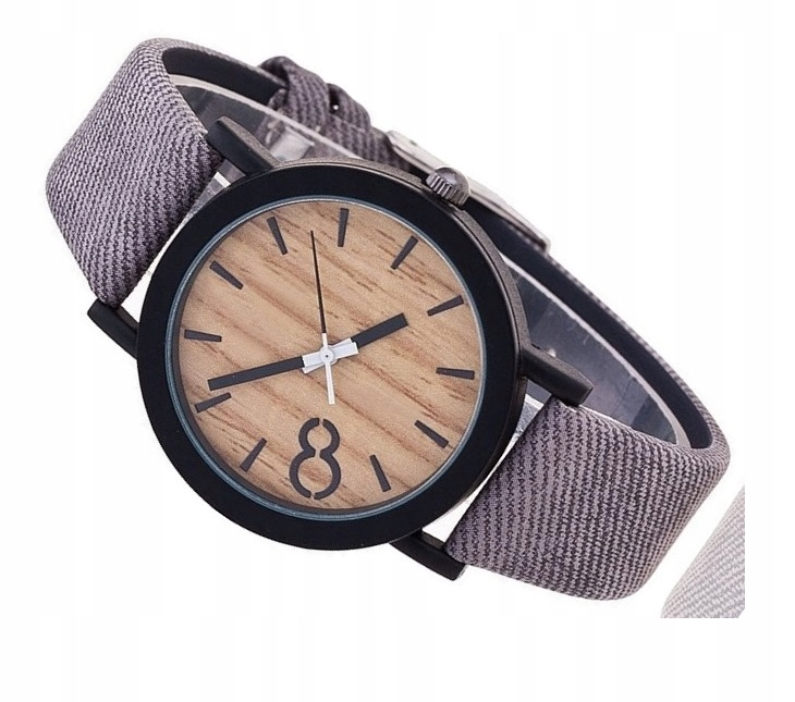Zegarek Unisex drewniany WOOD szary pasek
